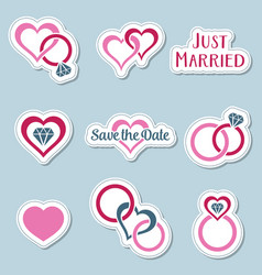 vintage wedding symbols labels vector image