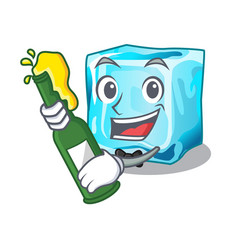 With beer ice cubes on the cartoon funny vector