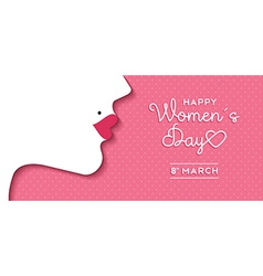 Womens Day design with girl face and text label vector image