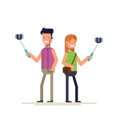 Boy and girl make selfie photos on a smartphone vector image vector image