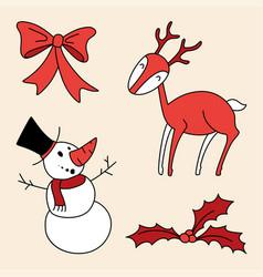 christmas set holly berries snowman bow deer vector image