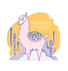 cute cartoon lama alpaca hand drawn vector image