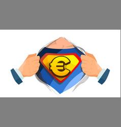 euro sign superhero open shirt with shield vector image vector image