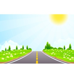Green Landscape with trees clouds flowers and Road vector image vector image