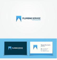 plumb service logo set with water drop vector image vector image