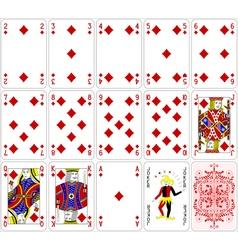 Poker cards diamond set four color classic design vector image vector image