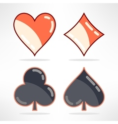 set of playing cards suits icons in modern vector image vector image
