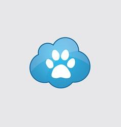Blue cloud cat footprint vector image vector image