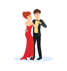 couple in evening clothes dance gentle dance vector image