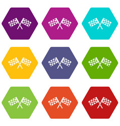 Crossed chequered flags icon set color hexahedron vector