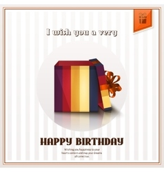 Happy birthday greeting card with open gift box vector image
