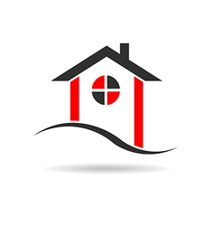 House with circle window logo vector image