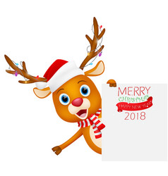 merry christmas background with cute reindeer vector image vector image