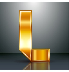 Letter metal gold ribbon - L vector image