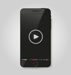 realistic modern phone video player on screen vector image