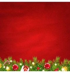 Retro Red Background And Fir Tree Garland vector image vector image