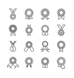rosette banner thin line icons award vector image vector image