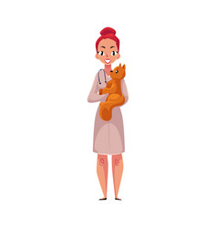 woman female veterinarian doctor vet in medical vector image