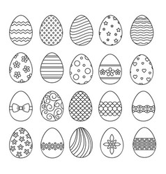 happy easter eggs thin line icons vector image vector image