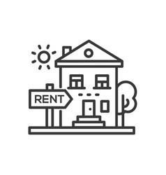 house for rent - line design single isolated icon vector image vector image