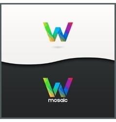 Letter w logo alphabet mosaic icon set background vector