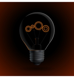 Lightbulb with gear sign on a dark background vector image vector image