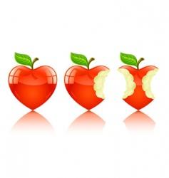 love heart apple vector image vector image