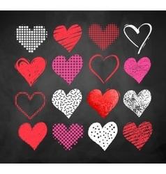 Valentine hearts on blackboard background vector image vector image
