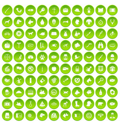 100 dog icons set green circle vector