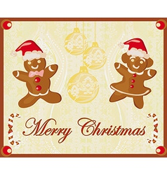 Abstract card with Christmas gingerbread vector image
