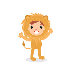 Adorable toddler in lion costume little king of vector