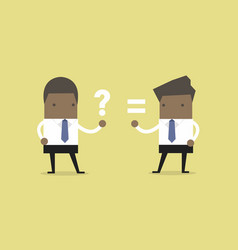african businessman answer and question vector image
