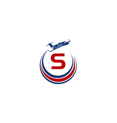 Airplane logo initial s vector