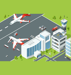 Airport controls buildings of aircraft plane vector