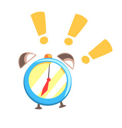 alarm clock ringing colorful cartoon vector image