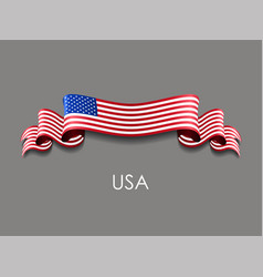 american flag wavy ribbon background vector image