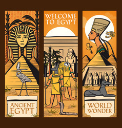 Ancient egypt banners great pyramids gods vector