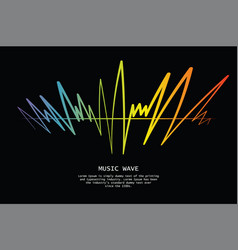 audio colorful wave logo on black pulse music vector image