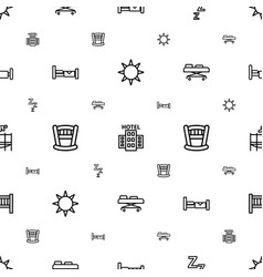 Bed icons pattern seamless white background vector