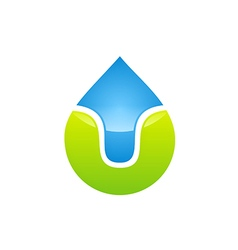 bio ecology water drop logo vector image vector image