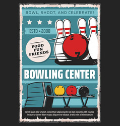 Bowling sport center team club vintage poster vector