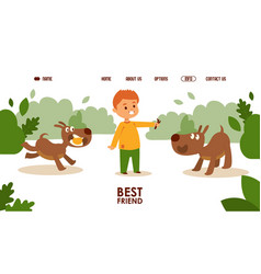 boy playing with dogs vector image
