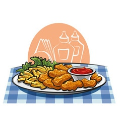 Breaded chicken nuggets and french fries with sauc vector