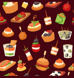 canapes mini burgers appetizer finger food with vector image