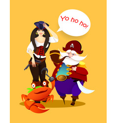 cartoon character pirate girl captain and crab vector image