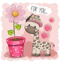 Cartoon Giraffe with a flower vector