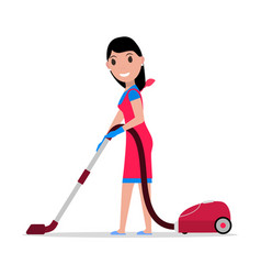 Cartoon girl with a vacuum cleaner vector