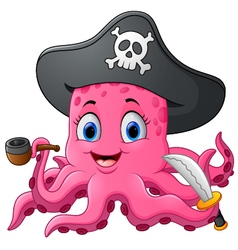 Cartoon pirate octopus vector image