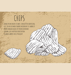Chips fried potatoes poster vector
