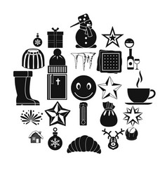 christmas icons set simple style vector image